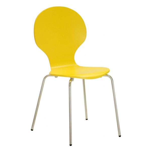 Four Fiji Wooden and Chrome Dining Chairs - Yellow Finish