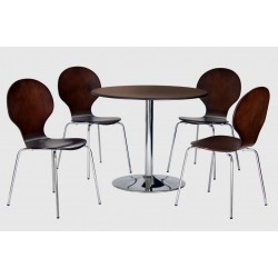 Fiji Round Wooden Chrome Dining Table Four Chairs Walnut Finish