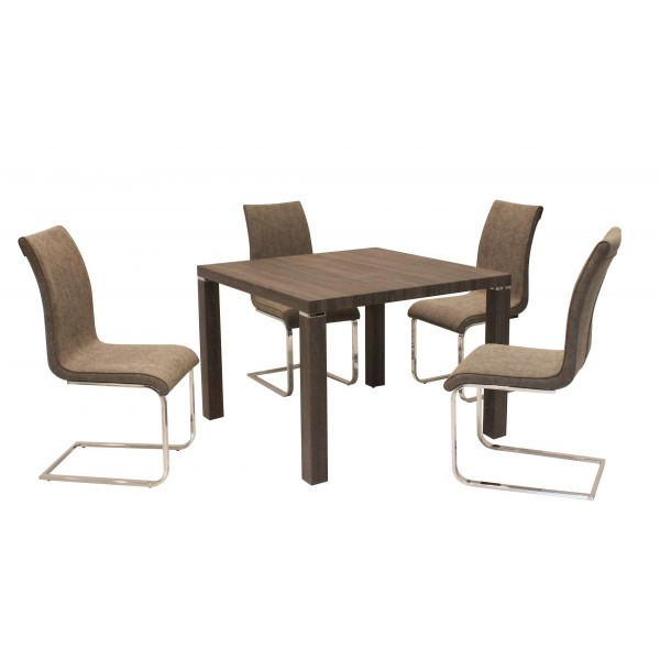 Finley Square Dining Table Set with Four Chairs - Antique Brown Finish