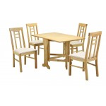 Liverpool Gateleg Drop Leaf Dining Table Set with Four Chairs  - Natural Finish
