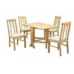 Liverpool Gateleg Drop Leaf Dining Table Four Chairs Natural Finish