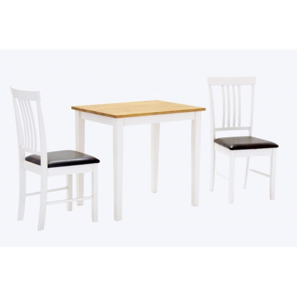 Massa Small Wooden Dining Table Set with Two Chairs - Natural & White Finish