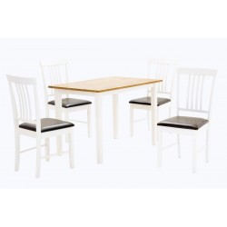 Massa Wooden Dining Table Four Chairs Natural & White Finish
