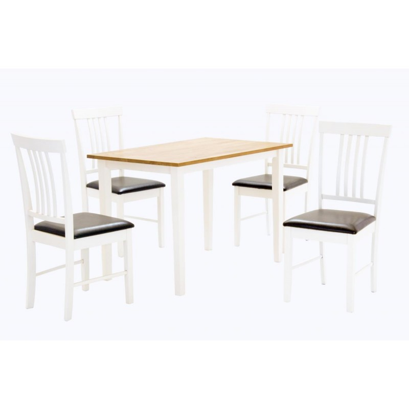 Massa Wooden Dining Table Four Chairs Natural White Finish