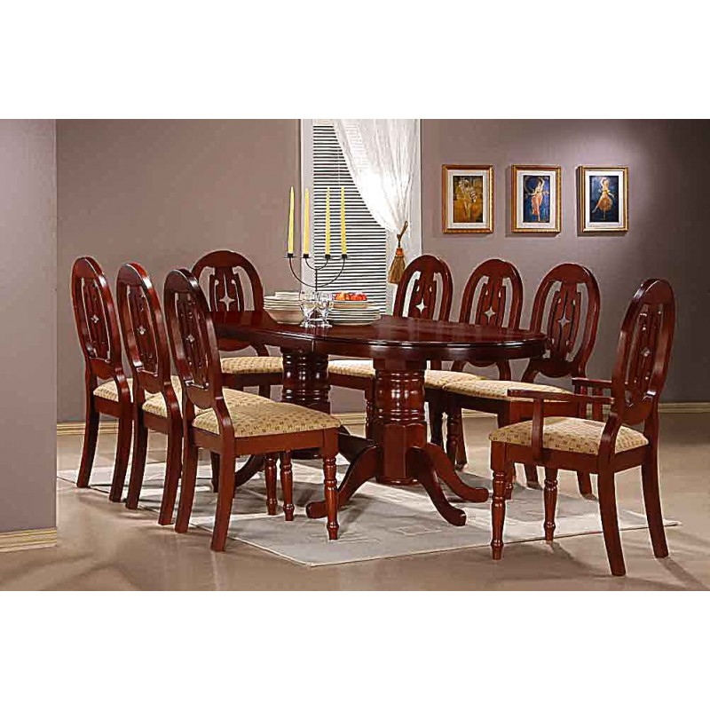 Moscow Large Oval Traditional Mahogany Dining Table Eight Chairs