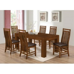 Yaxley Large Wooden Dining Table Six Chairs Rustic Oak Finish