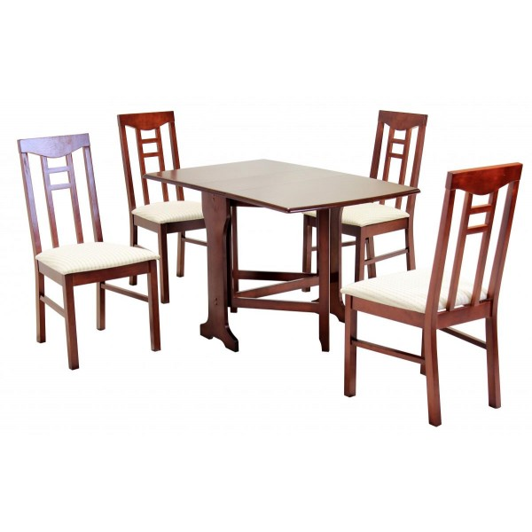 Liverpool Gateleg Two Drop Leaf Dining Table Set with Four Chairs  - Mahogany Finish