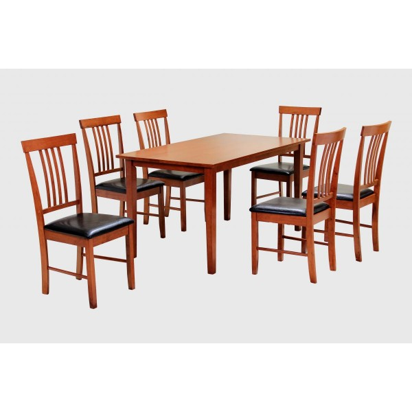 Massa Dining Table Large Wooden Set with Six Chairs - Mahogany Finish