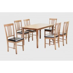 Massa Large Wodden Dining Table Set with Six Chairs - Oak Finish