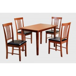 Massa Wooden Dining Table Set with Four Chairs - Mahogany Finish