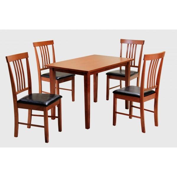 Massa Dining Table Set Four Chairs Mahogany Finish