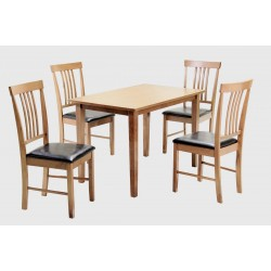 Massa Dining Table Set Rectangle Wooden Four Chairs Oak Finish