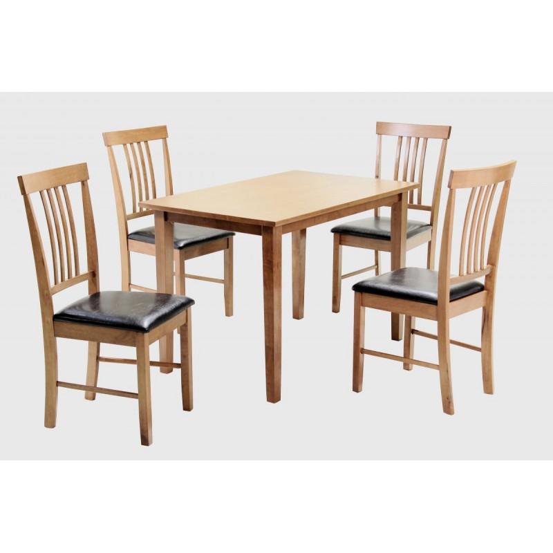 size 40 03f6f 3e8ff Massa Dining Table Set Rectangle Wooden Four Chairs Oak Finish