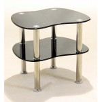 Hudson Black Glass Display Stand - Side End Lamp Coffee Table
