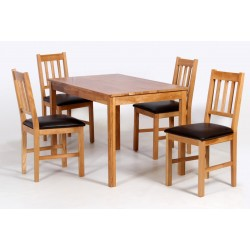 Hyde Solid Oak Dining Table with Four Chairs - Black Faux Leather Seat Pads