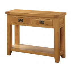 Acorn Solid Oak Console Hall Side Table Two Drawers