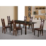 Baltic Dining Table Extending Solid Beech Large Six Chairs Walnut Finish