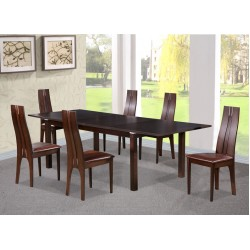 Croft Dining Table Extending Solid Beech Six Chairs Walnut Finish