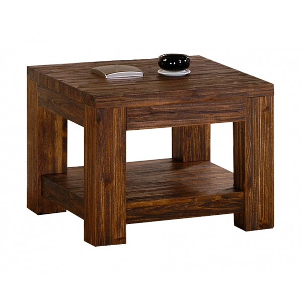 Martello Solid Acacia Dark Brown Lamp Side End Coffee Table