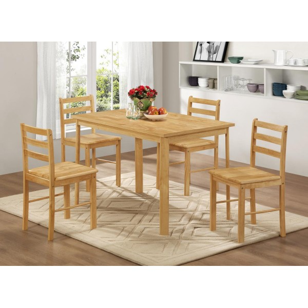 York Wooden Dining Table Set with Four Chairs Natural Oak Finish