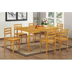York Large Wooden Dining Table Six Chairs Natural Oak Finish