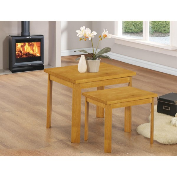 York Two Piece Nest of Tables Lamp Side End Coffee Table Natural Oak Finish