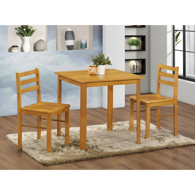 York Small Square Wooden Dining Table Set With Two Chairs Natural Oak Finish