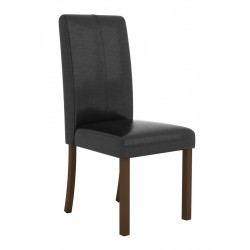 Parkfield Black Leather Dining Chairs with Solid Acacia Legs - Pack of Two