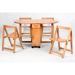 Butterfly Two Drop Leaf  Dining Table Four Foldable Chairs - Oak Finish