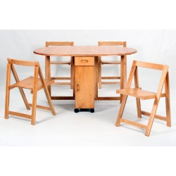 Butterfly Two Drop Leaf  Dining Table with Four Foldable Chairs - Oak Finish
