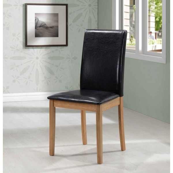 Healy Dining Chairs Black Leather Light Oak Legs - Pack of Two