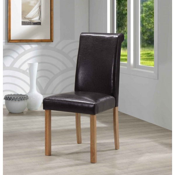 Jasper Dining Chairs Black Leather Light Oak Legs - Pack of Two