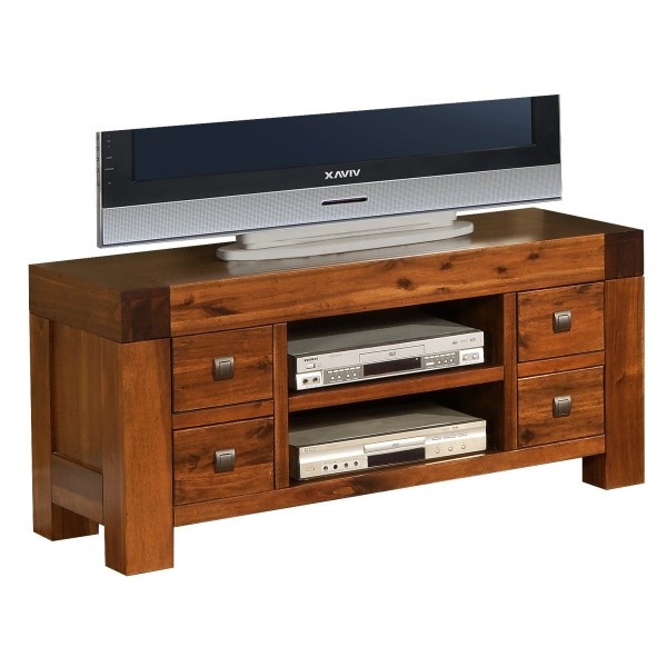 Monaco Solid Acacia Antique Brown TV Stand Entertainment Cabinet