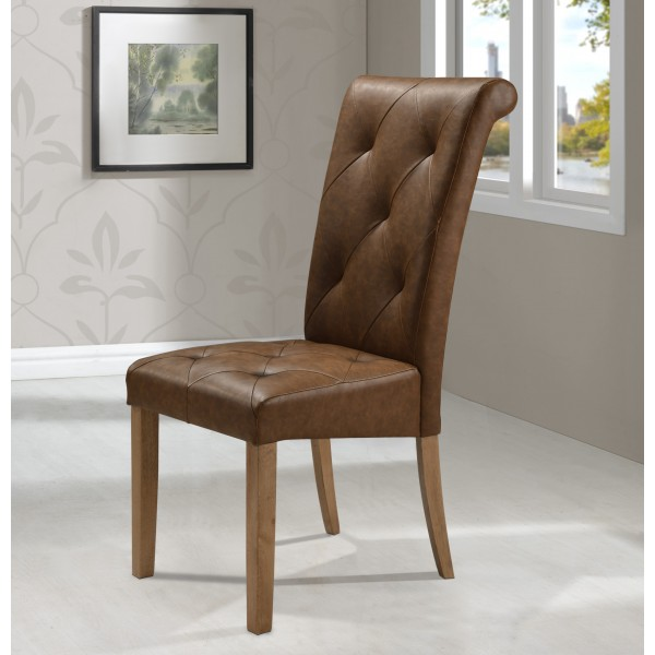 Nicole Dining Chairs Antique Brown Tufted Leather Wooden Legs - Pack of Two