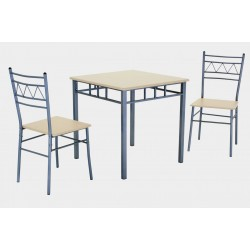 Oslo Small Square Dining Table Two Chairs Silver Metal Frame Beech Finish