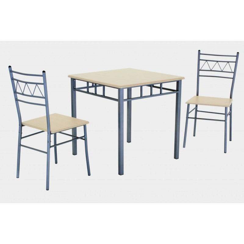 Oslo Square Small Dining Table With Two Chairs And Silver Metal Frame Beech Finish