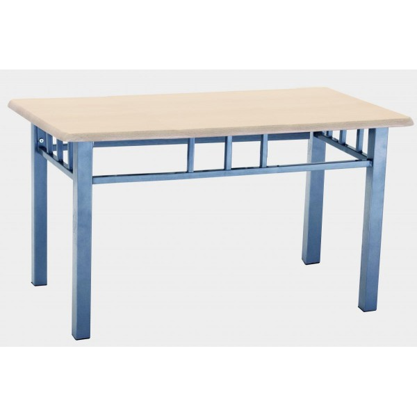Oslo Rectangle Coffee Table with Silver Metal Frame Beech Finish