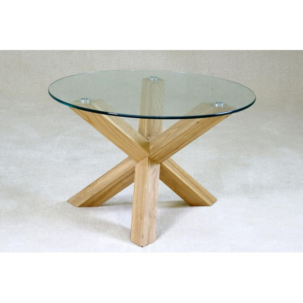 Saturn Coffee Table Round Clear Glass with Solid Oak Tripod Legs