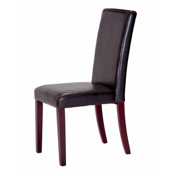 Two Spartan Black Leather Dining Chairs with Mahogany Legs
