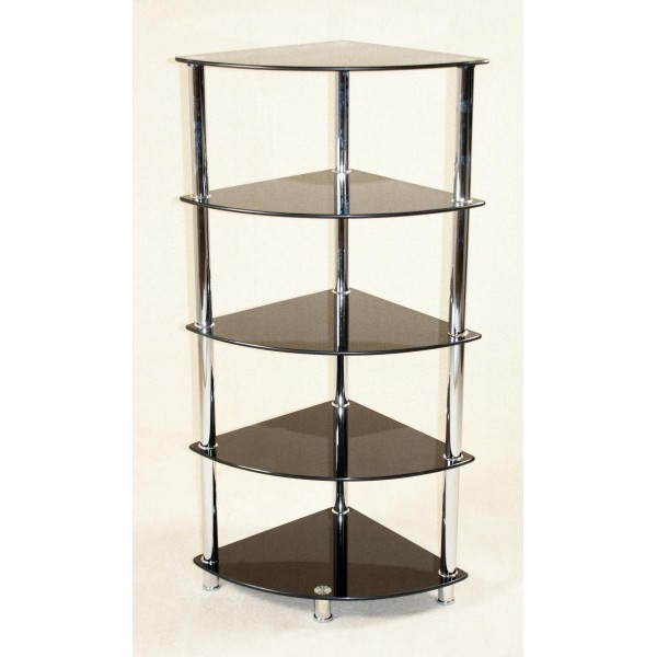 Cologne Black Glass Five Tier Corner Display Rack