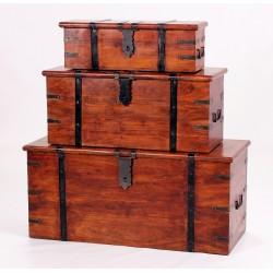 Jaipur Solid Acacia Rustic Antique Three Piece Trunk Set