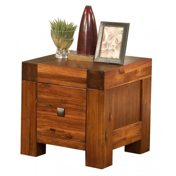Monaco Solid Acacia Traditional Antique Brown Lamp Side End Table