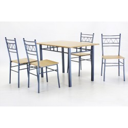 Oslo Rectangle Dining Table Four Chairs Silver Metal Frame Beech Finish