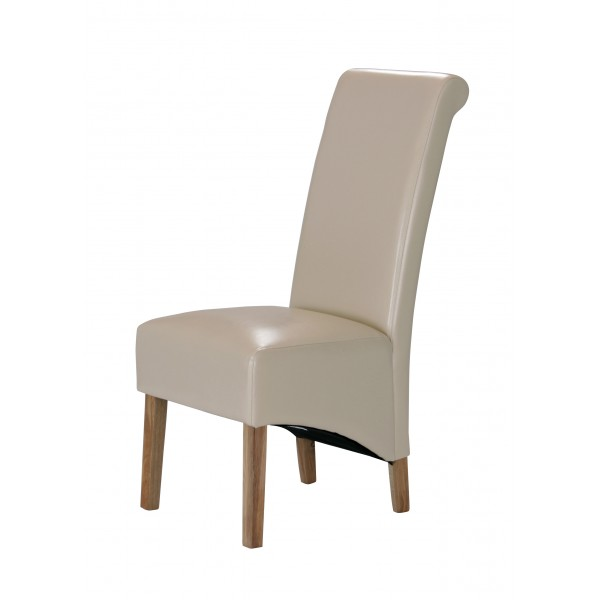 Trafalger Dining Chairs Cream Leather Wooden Legs - Pack of Two