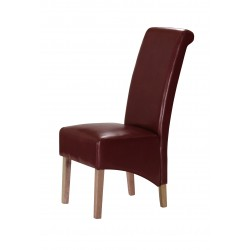Trafalger Dining Chairs Red Leather Wooden Legs - Pack of Two