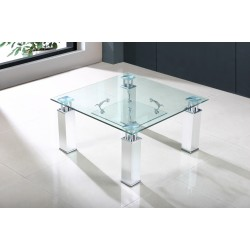 San Francisco Clear Glass Chrome Square Lamp Side End Coffee Table