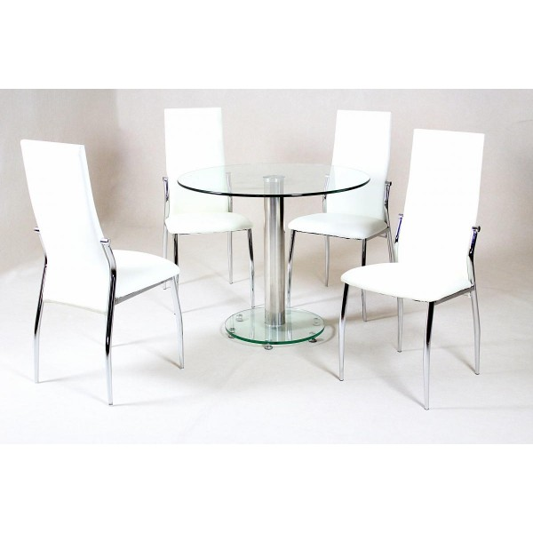 Alonza Clear Glass Round Dining Table Set Four Cream Chairs