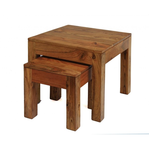 Carnival Solid Acacia Rustic Nest of Tables - Brushed Sand Finish