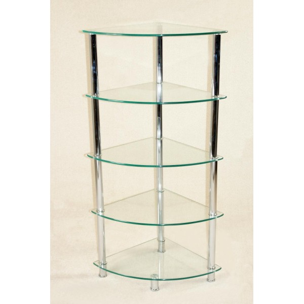 Cologne Clear Glass Chrome Frame Corner Rack Five Tier Display Stand