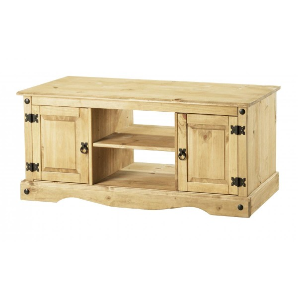 Corona Distressed Light Waxed Solid Pine TV Stand Cabinet Entertainment Unit